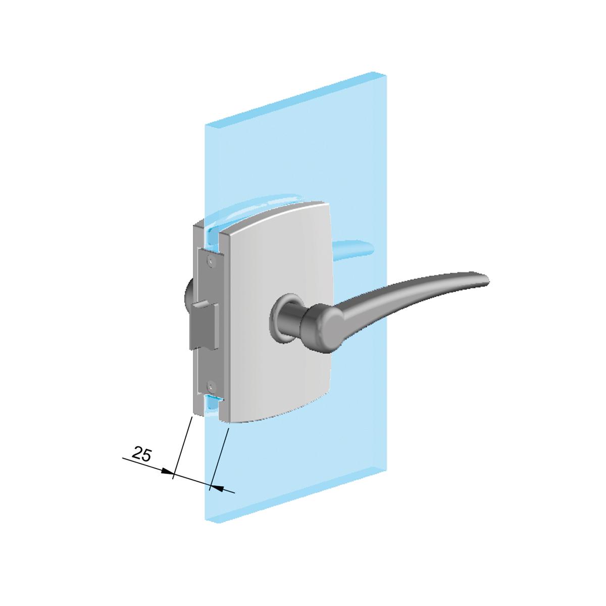 Picture of CO SER004FM-Z2B (10000) Doorhandle lock for glass door